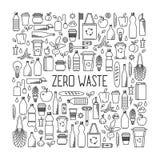零的废概念 eco和废物元素线艺术汇集  免版税图库摄影