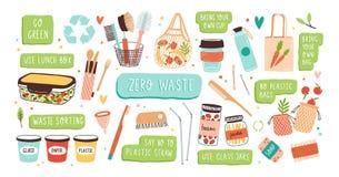 零的废物耐久和可再用的项目或产品-玻璃瓶子,eco食品杂货袋,木利器,梳子的汇集 向量例证