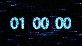 零的读秒 在屏幕上的读秒 时钟在开始新的读秒的00:00被设置 免版税图库摄影