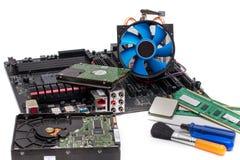 以零件和组分为目的计算机主板 库存图片