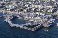 雷东多海滩码头的鸟瞰图在洛杉矶Californi附近的 免版税库存照片