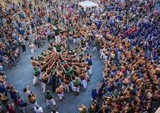 雷乌斯,西班牙- 2017年6月17日:Castells表现, 图库摄影