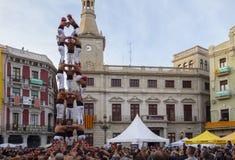 雷乌斯,西班牙- 2017年4月23日:Castells表现 免版税库存照片