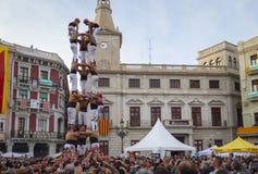 雷乌斯,西班牙- 2017年4月23日:Castells表现 库存照片