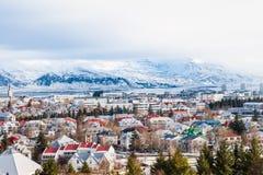 雷克雅未克冬天美丽的景色在冰岛冬天季节的 库存照片