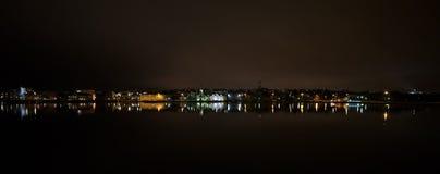 雷克雅未克市在晚上 库存照片