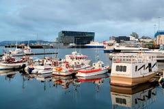 雷克雅未克港口在冰岛 库存照片