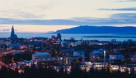 雷克雅未克,冰岛美好的超级广角鸟瞰图机智 免版税库存照片
