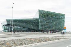 雷克雅未克,冰岛, 2014年5月:Harpa音乐堂和会议中心的一个外视图 免版税库存图片
