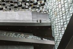 雷克雅未克,冰岛, 2014年5月:Harpa音乐堂和会议中心的内部看法 免版税库存照片