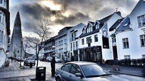 雷克雅未克,冰岛, Hallgrimskirkja 免版税图库摄影