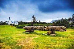 雷克雅未克,冰岛- 2017年8月29日:冰岛的著名老雕塑 雷克雅未克,冰岛- 8月29 图库摄影