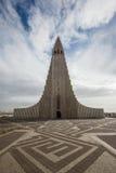 雷克雅未克,冰岛- 4月03 :Hallgrimskirkja教会是famou 免版税库存照片