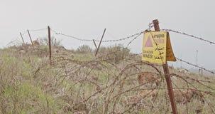 雷区在叙利亚以色列边界的戈兰高地警报信号 股票视频