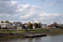 雷宾斯克镇,俄罗斯全景  码头 免版税图库摄影