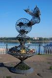 雷宾斯克镇,俄罗斯建筑学  对渔夫的纪念碑 图库摄影