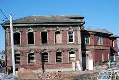 雷宾斯克镇,俄罗斯建筑学  被放弃的房子 免版税图库摄影
