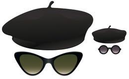 贝雷帽太阳镜 库存图片