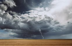 雷暴飓风覆盖领域农业庄稼麦子 免版税库存图片