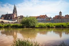 雷根斯堡是一个城市在东南德国 库存图片