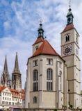 雷根斯堡,德国大教堂  免版税库存照片