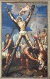 雷焦艾米利亚,意大利- 2018年4月12日:圣安德鲁在十字架上钉死传道者在教会基耶萨di圣阿戈斯蒂诺里 免版税库存照片