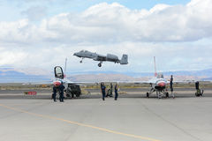 A-10雷电II在显示 库存图片