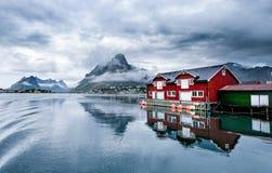 雷讷村庄, Lofoten海岛 免版税库存照片