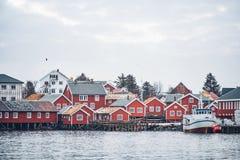 雷讷渔村,挪威 免版税图库摄影