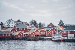 雷讷渔村,挪威 免版税库存照片
