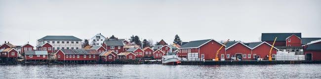 雷讷渔村,挪威 库存图片