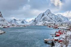 雷讷渔村,挪威 库存照片
