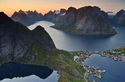 雷讷, Lofoten海岛,挪威 图库摄影