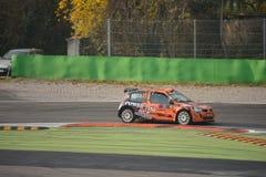 雷诺Clio集会汽车在蒙扎 库存照片