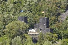 雷马根-雷马根桥梁的塔在相反河岸的 免版税图库摄影