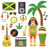 雷鬼摇摆乐艺术家乐器和rastafarian元素收藏导航例证 免版税图库摄影