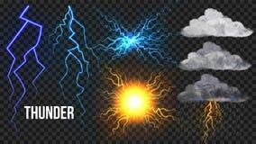 雷,Lightnigs设置了传染媒介 螺栓,夜空不可思议的明亮的闪闪发光作用 火球,雨,多云 恶劣天气 皇族释放例证