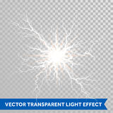 雷暴轻的闪电闪光在透明背景的 免版税库存图片