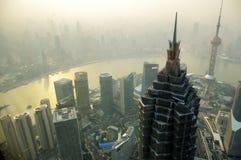 雾上海地平线 库存图片