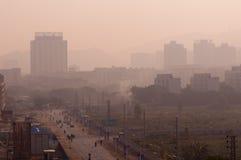 雾在中国乡下早晨 图库摄影
