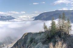 雾在谷哥伦比亚河峡谷俄勒冈 免版税库存照片