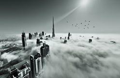 雾在迪拜 库存图片