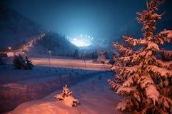 雾巨大的溜冰场滑冰的日落浓厚 库存图片