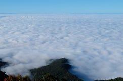 雾海与山的在国家公园Chiangmai,泰国 免版税库存图片