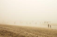 雾海滩的人们 库存照片
