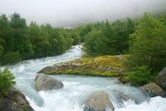 雾的冰川河 库存照片