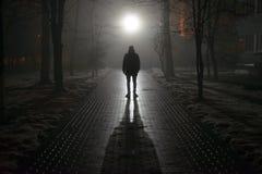 雾的孤独的人在晚上 库存照片