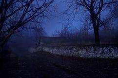 雾的议院在晚上在庭院里,鬼魂房子风景在黑暗的森林里 免版税库存照片
