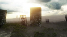 雾的默示录城市 被毁坏的城市的鸟瞰图 默示录概念 超级现实4K动画 库存例证