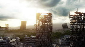 雾的默示录城市 被毁坏的城市的鸟瞰图 默示录概念 超级现实4K动画 皇族释放例证
